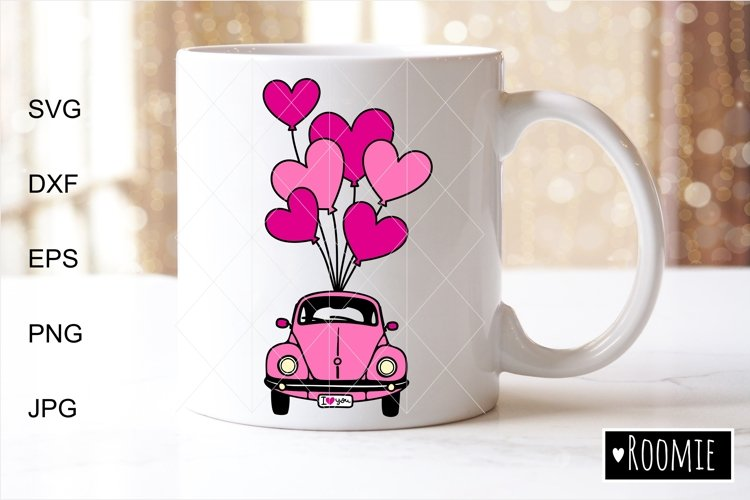 Valentine heart truck Svg, Retro car, i love you Shirt, Card example image 1
