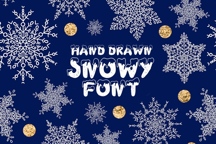 Handdrawn snowy display font example image 1