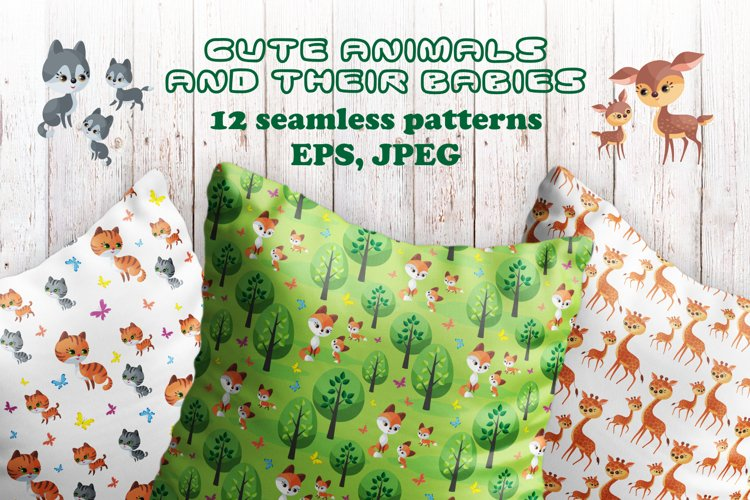 Cute animals and their babies. Seamless patterns.