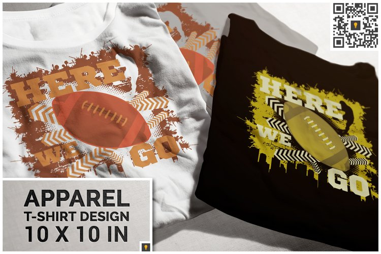 Here We Go Football Theme T-shirt Design example image 1