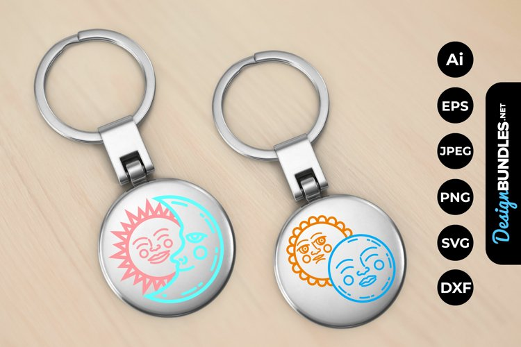 Sun and Moon Doodle Keychain example image 1