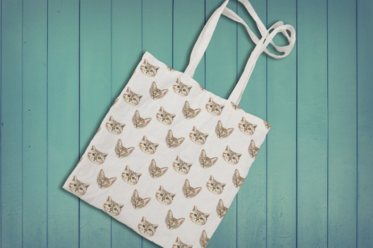 Cat watercolor patterns  - Free Design of The Week Design3