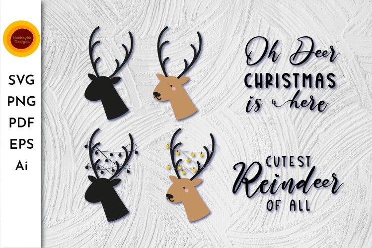 Oh deer Christmas is here. Oh deer SVG. Reindeer Head SVG. example image 1