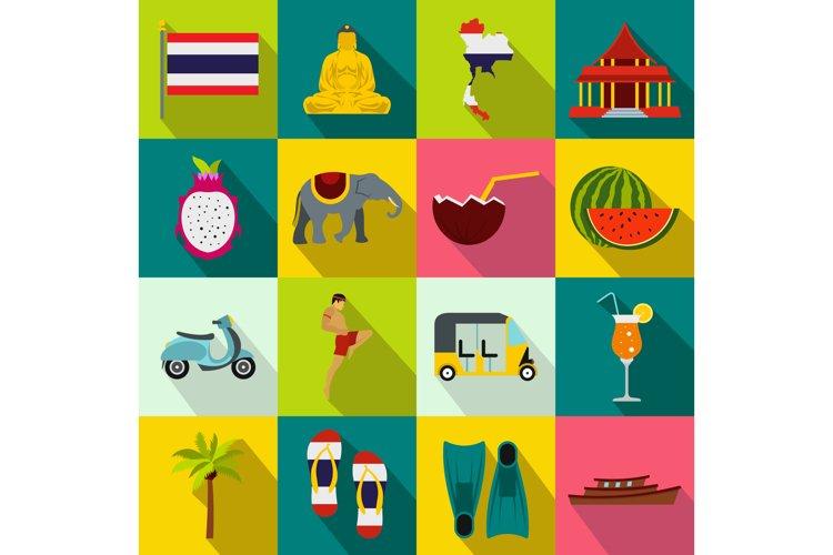 Thailand icons set, flat style example image 1