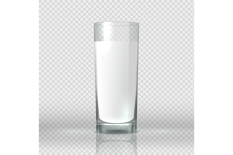 Glass of milk. Realistic image transparent cup with white co