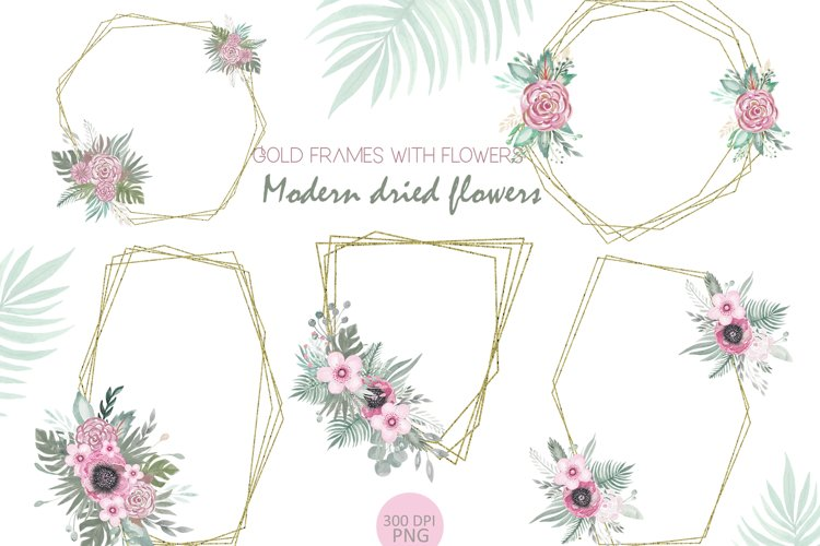 Gold frames with flower watercolor clipart example image 1