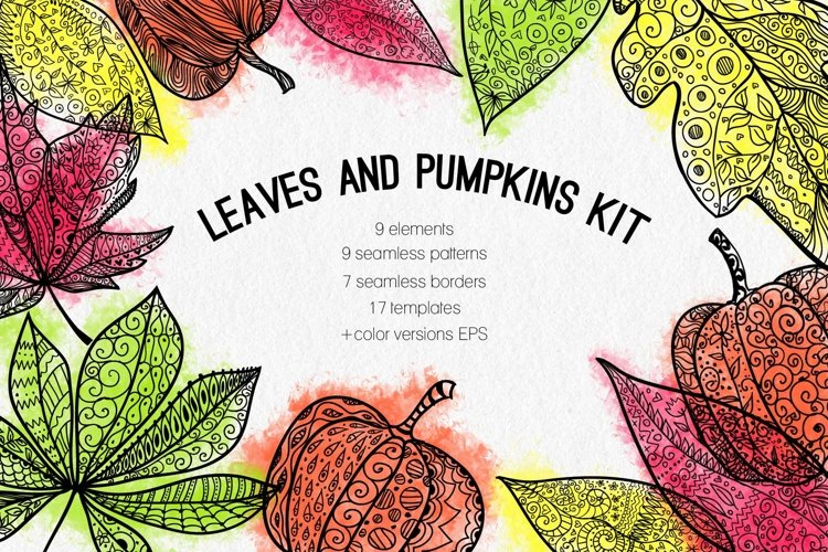 Leaves and pumpkins kit EPS example image 1