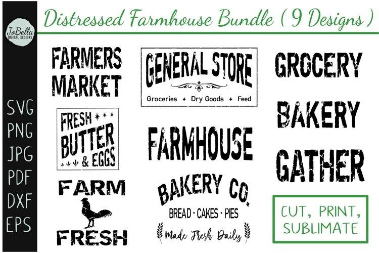 Distressed Farmhouse SVG Bundle, Sublimation PNGs, Etc.