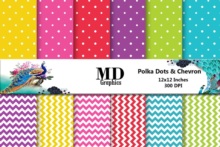 Polka Dot Scrapbooking Papers, Chevron Digital Papers example image 1