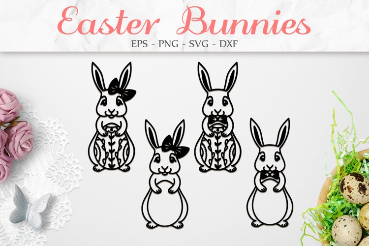 Easter Bunny SVG, Easter Decorations, Easter Clipart SVG example image 1