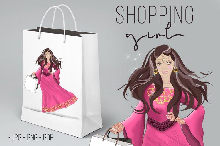 SHOPPING GIRL. FASHION ORIENTAL WOMAN. ARABIC GIRL