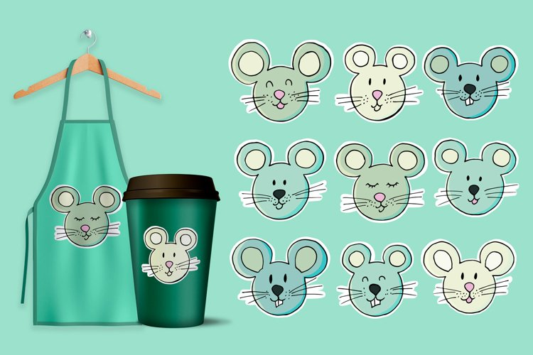 Set of elements cartoon characters. Faces of the mouse, rat example image 1