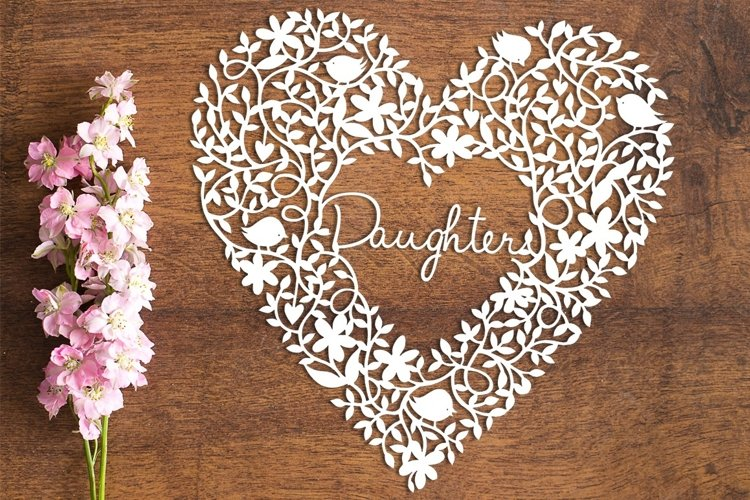 Daughter Heart - PDF Template for Paper Cutting by hand