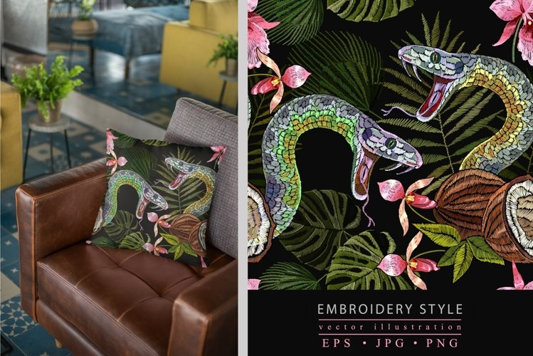 Embroidery style snake, coconut and tropical orchids
