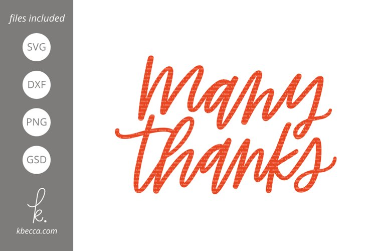 Many Thanks SVG Cut Files example image 1