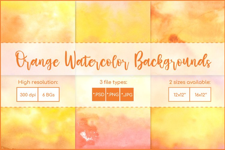 Orange Backgrounds , Sublimation Watercolor Background PNG example image 1