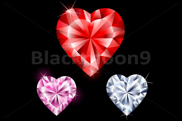 Precious Gems in Heart Shapes example image 1