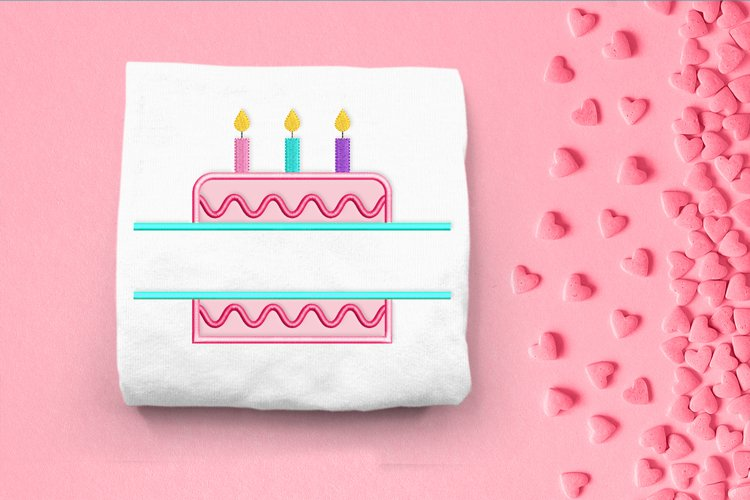 Birthday Cake Split Applique Embroidery Design