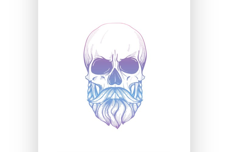 Sketch Skull with moustaches and beard
