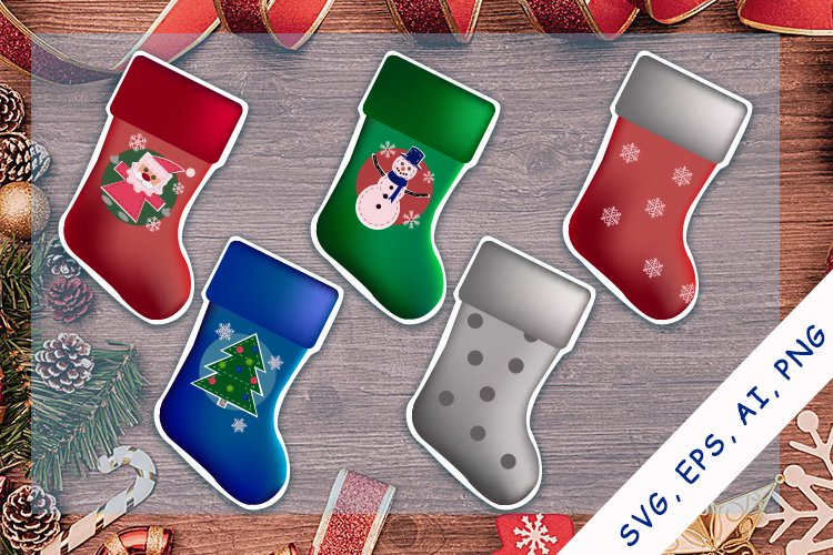 Christmas Stockings SVG, EPS, Ai, PNG  Stickers Bundle