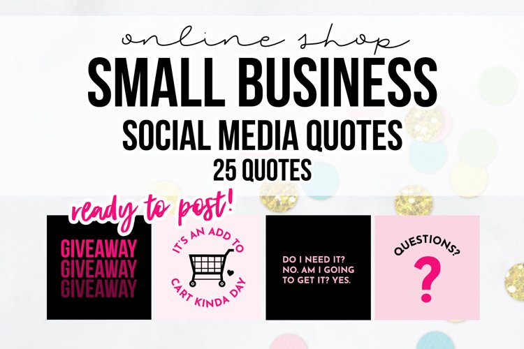25 x Pink & Black Online Business Social Media Quotes example image 1
