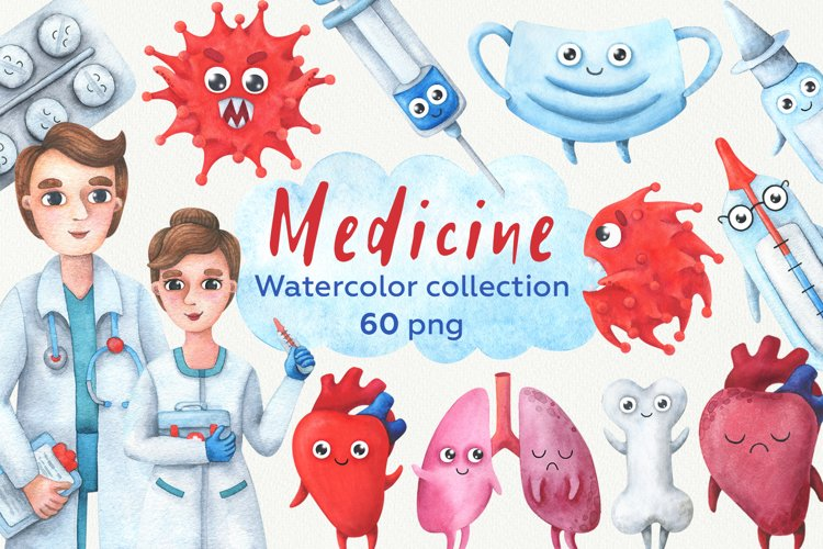 Medicine. Collection of children's, watercolor illustrations example image 1