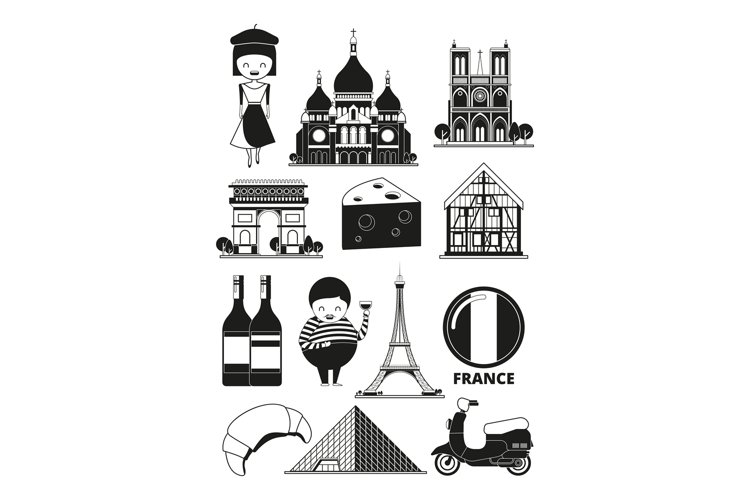 Monochrome illustrations of french landmarks. Vector picture example image 1