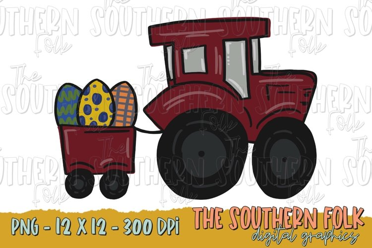 Easter Tractor PNG File, Sublimation Design example image 1