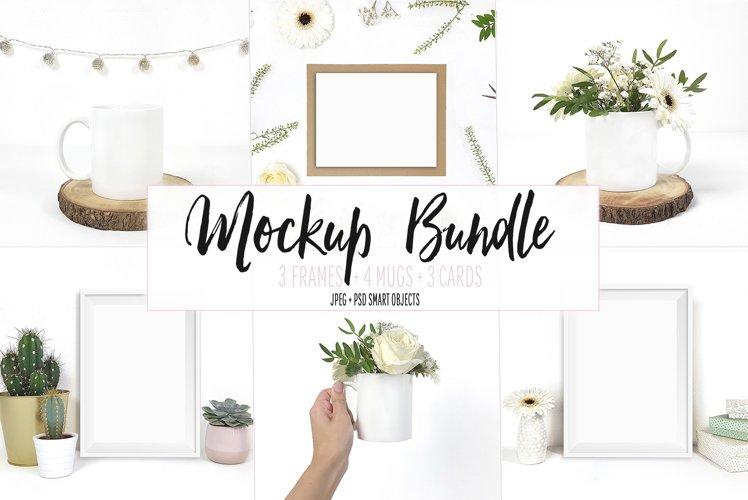 Mockup bundle, Frames, Mugs, Cards, JPG & PSD example image 1