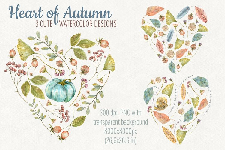Heart of Autumn. Watercolor compositions example image 1