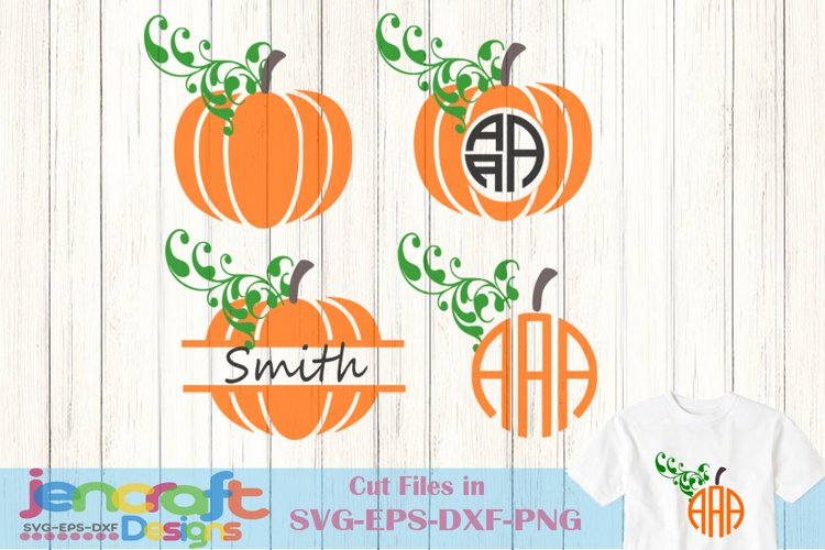 Pumpkin SVG - Fall Monogram Frame Design for Crafters example image 1