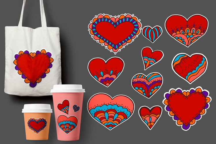 Love. St. Valentine's Day. Sketch, stickers, pins. Doodle example image 1