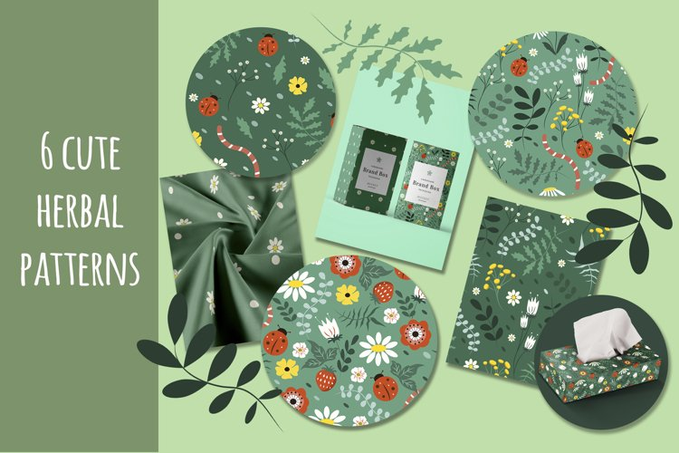 six cute patterns with herbal ornament