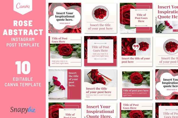 Rose Abstract Instagram Canva Template example image 1