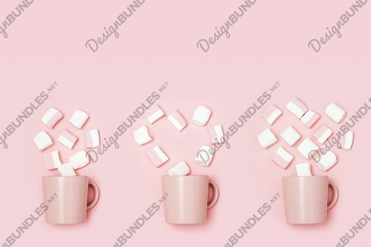 Set from pink cup and heart from marshmallows example image 1