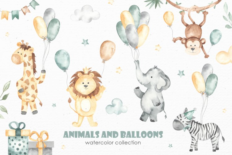 Animals and balloons watercolor example image 1