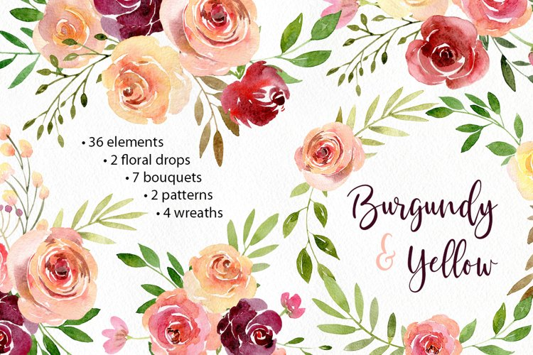 Boho Watercolor Flowers Wreaths Patterns Arrangements PNG Rustic Collection example image 1