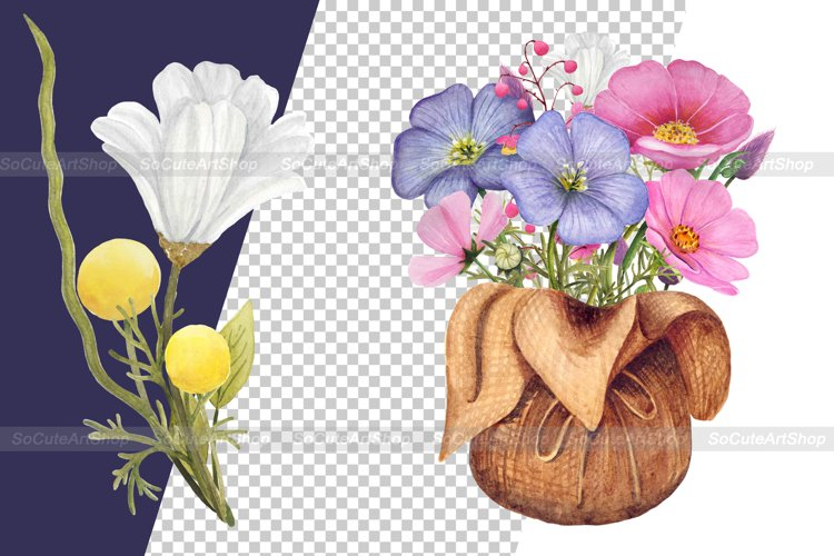 Watercolor Wildflower PNG Summer clipart, Floral bouquet png example 5