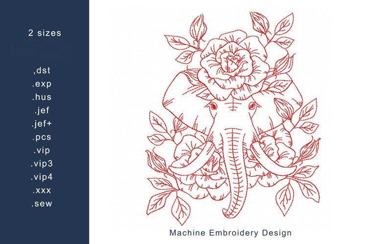 Redwork Floral Elephant 2 Machine Embroidery Design 2 sizes example image 1