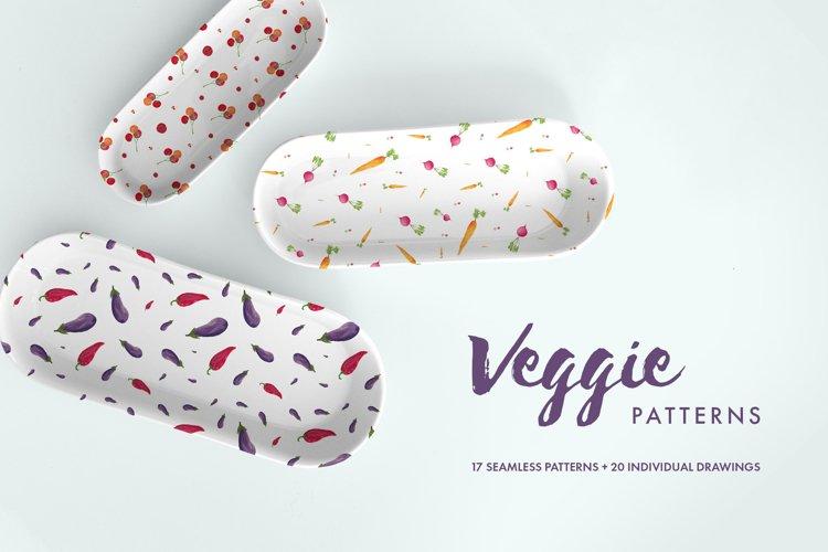 Watercolor Veggie Patterns