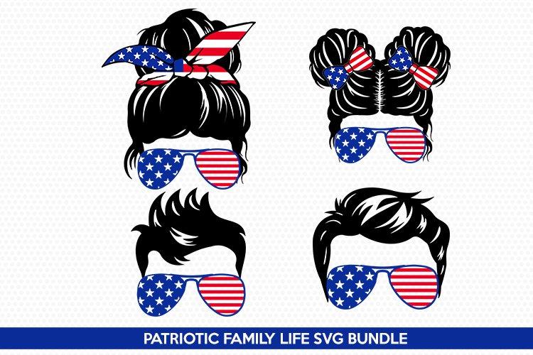 mom life svg- Messy Bun SVG - Patriotic Family Life SVG- Mom example image 1