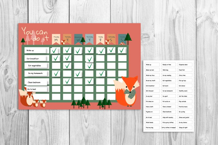 Kids reward chart, Fox graphic, Fox and forest
