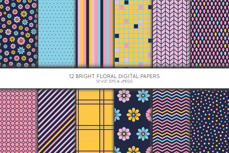 Floral Digital Paper, Geometric Scrapbook paper example image 1
