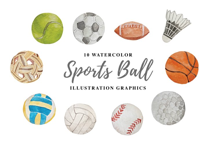 10 Watercolor Sports Ball Illustration Graphics example image 1