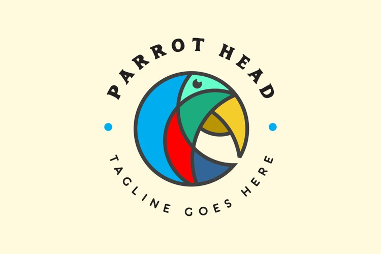 Colorful Parrot Head Logo example image 1