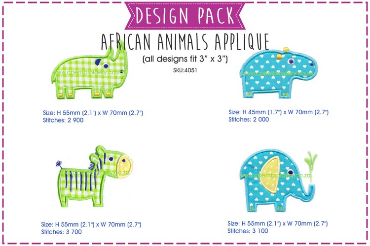 African Animal Applique Embroidery Design Pack example image 1