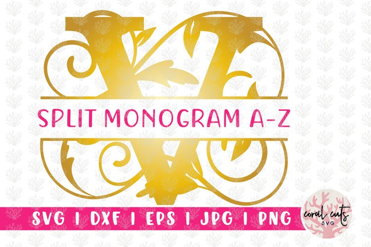 Decorative Floral Split Monogram A to Z - SVG EPS PNG JPG
