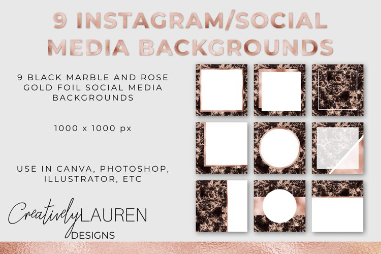 Veined Black Marble and Rose Gold Foil Instagram Template example image 1