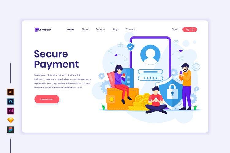 Secure Payment concept flat Illustration landing page