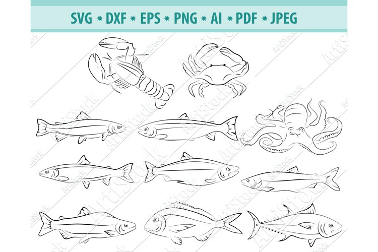 Seafood SVG, Fishing Clipart, Ocean Png, Marine Dxf, Eps